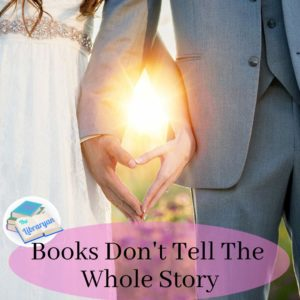 """Wedding photo with sun setting between couple's hands. """"books don't tell the whole story"""