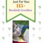 green gem background, smiling woman reading a book, 115+ bookish goodies